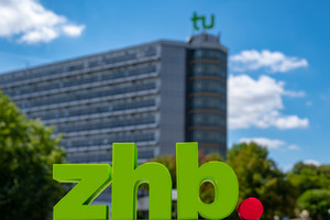 Picture shows zhb logo in front of Mathe tower